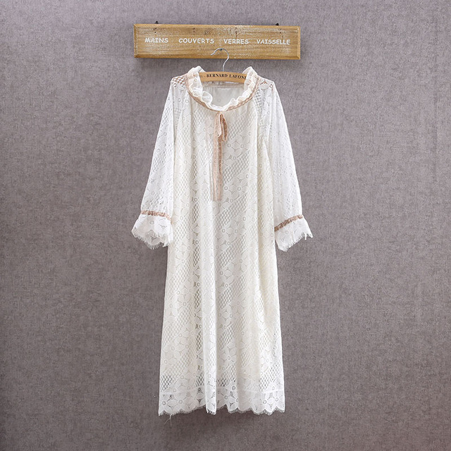 25410d1a8f4b Japanese Mori Giel Boho Vintage Retro Vetement Femme Floral Rockabilly  Embroidery White Lace Beach Bohemian Women