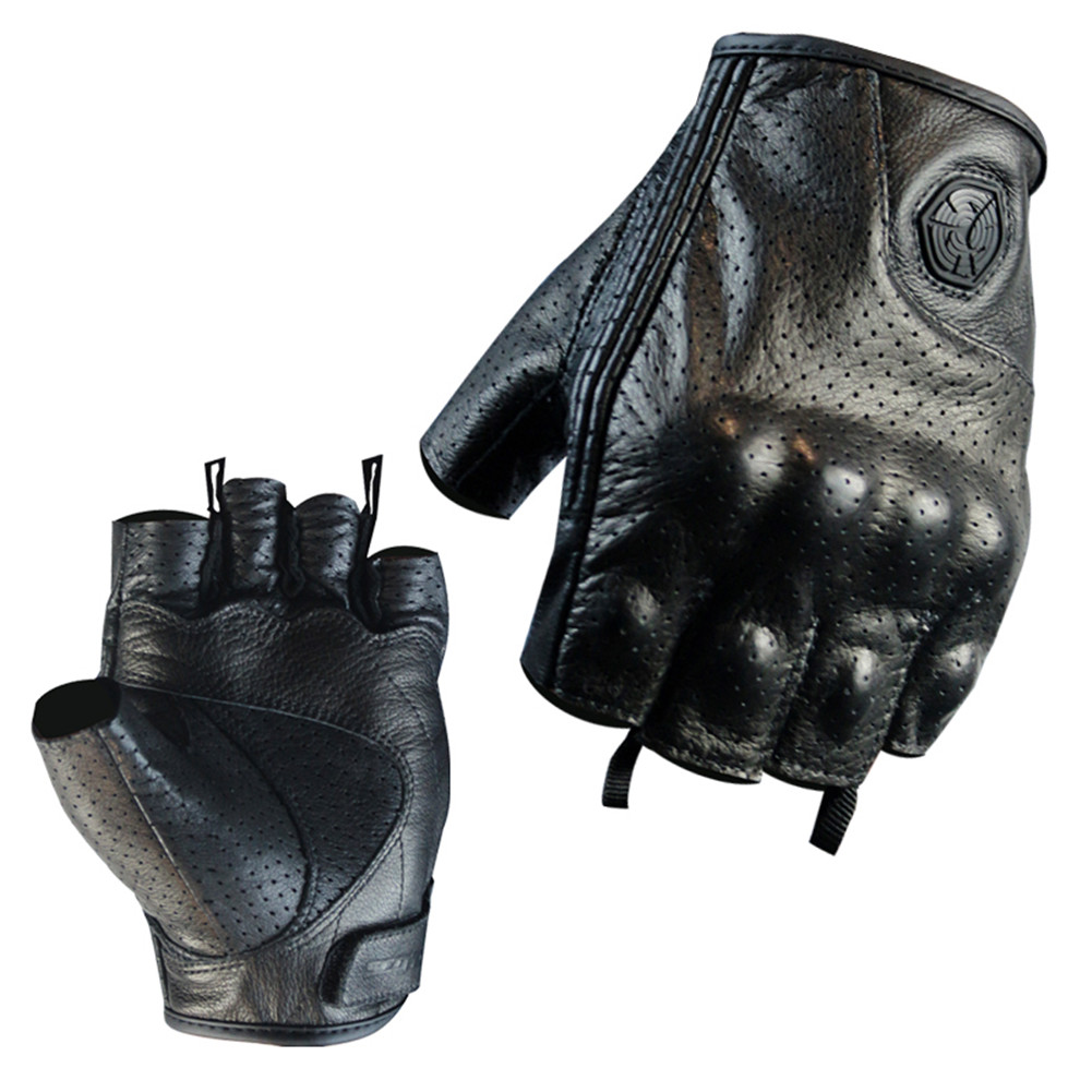 Genuine Leather Half Finger Motorcycle Gloves Scoyco Summer Motocross Racing Gloves Goat Leather Sheep Skin Moto Bike Glove