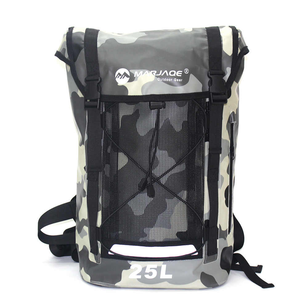 25L Tahan Air PVC Tas Kering Karung Kolam Berkemah Mendaki Hiking Tas Ransel Bahu River Tracing Arung Jeram Ransel Tahan Air