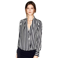 2016 Hot White Blouse New Formal Women Long Sleeve Chiffon Button Striped Lapel Tops Shirts Sized