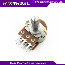 5PCS 2K ohm WH148 B2K 6pin  Potentiometer 15mm Shaft With Nuts And Washers Hot