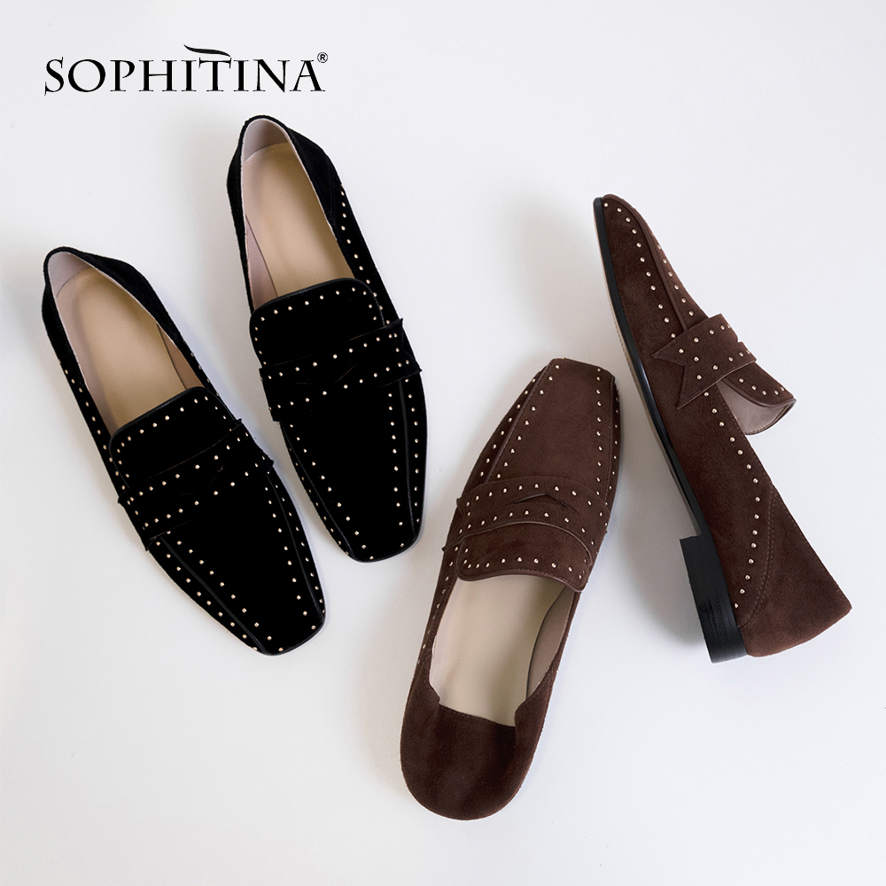 SOPHITINA Women s Casual Pumps Comfortable Cow Suede Fashion Sewing Leisure Shoes Handmade Slip on Spring
