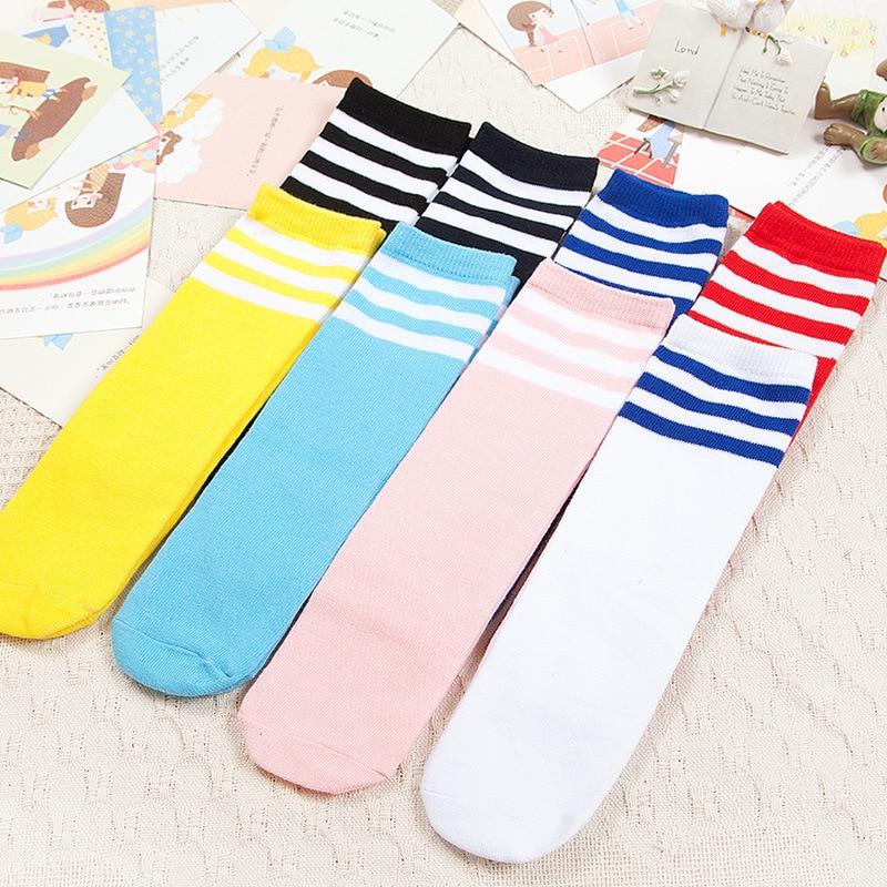 Kids Knee High Socks Girls Boys Football Stripes Cotton Socks Old School White Socks Skate Children Baby Long Tube Leg Warmer