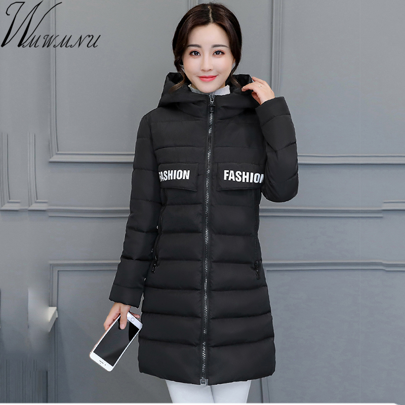 Wmwmnu 2017 Winter Jacket Women Hooded Cotton Padded Long Coats Winter thick Coat Women Jaqueta Feminina slim warm women parkas jolintsai winter jacket women mid long hooded parkas mujer thick cotton padded coats casual slim winter coat women