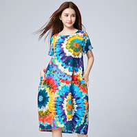 2016 Chinese Dress Big Flower Printing Loose Cotton Linen Long Beach Dress Flax Max Dress For