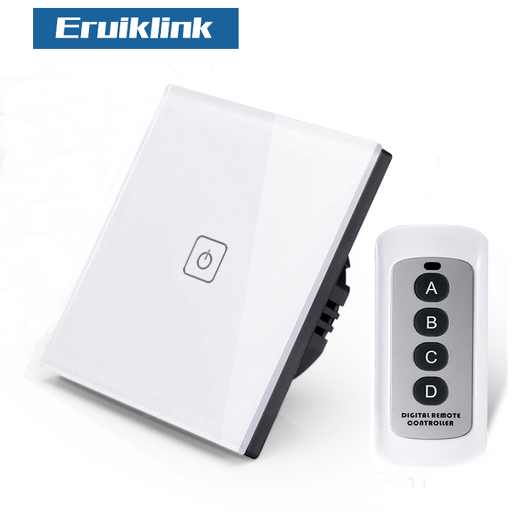 Uk Standard Wall Touch Switch Crystal Glass Panel 4 Gang 1 Way Rf433 Light Eruiklink Eu Wireless Remote Control