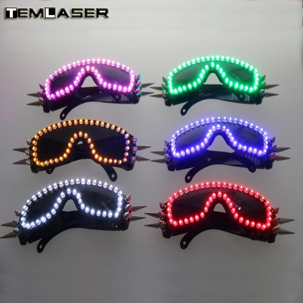 무료 배송 6 컬러 버스트 LED 글로우 안경 LED 안경 리벳 펑크 안경 레이저 안경 Chirstmas 파티