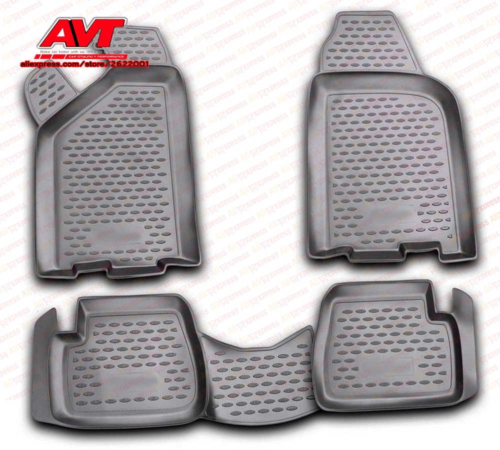 Tapis de sol pour Vaz/Lada Samara 2113/2114/2115 4 pièces en caoutchouc tapis en caoutchouc antidérapant intérieur voiture accessoires de coiffure