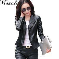 2016 New Spring Leather Clothing Women S Stand Collar Leather Jacket Short Coat Slim Design Purple