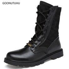 ab64c327e34 De los hombres de la moda botas de militar de zapato de cuero casual otoño e