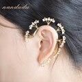 Nandudu Chic punky ¢ o del oído Del Abrigo Pendiente AAA zirconia ear cuff Pendiente de clip regalo de boda de La Manera E94