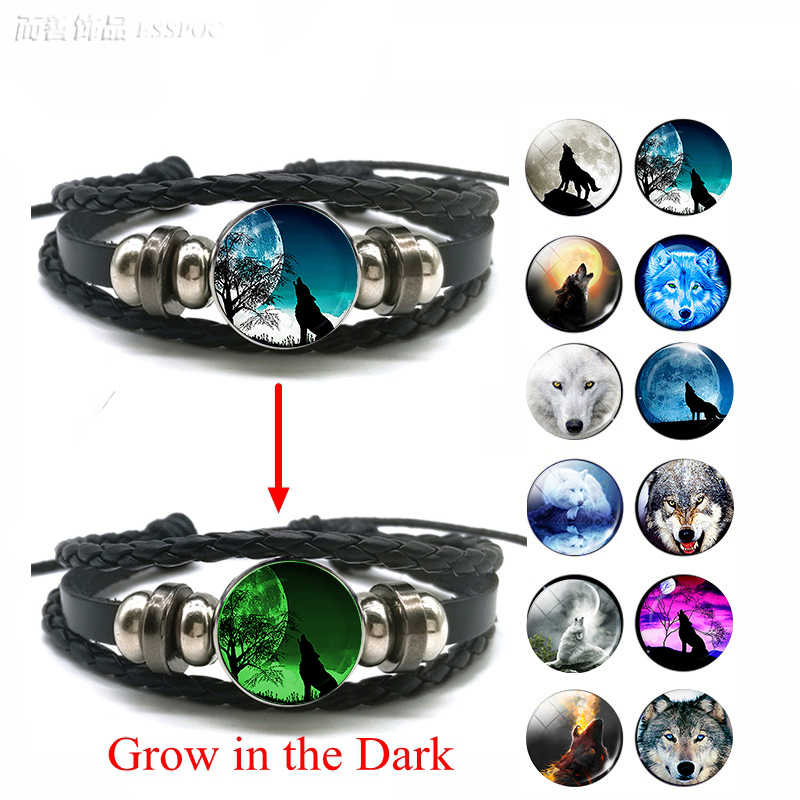 Glow In The Dark Wolf Head Bracelet Multilayer Leather Bracelet Charm Women Men Fashion Luminous Bracelets Wolf Jewelry