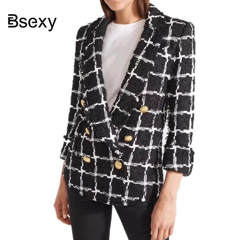Piste 2018 D'or Bouton Plaid Tweed Blazer Veste Femmes Mince De Poche De Mode À Manches Longues Élégant Office Lady Blazer Noir Manteau
