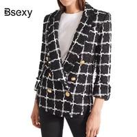 Runway 2018 Golden Button Plaid Tweed Blazer Jacket Women Slim Fashion Pocket Long Sleeve Elegant Office Lady Blazer Black Coat