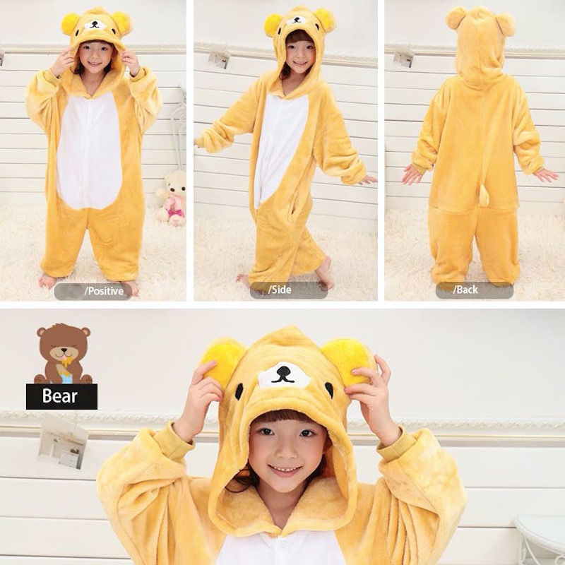 Children Clothing Yellow Bear Animal Pajamas Cosplay Costumes Unisex kids clothes Boys Girls Flannel Sleep Tops Onesies Pyjama