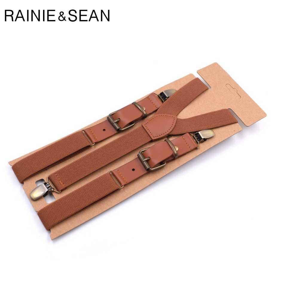RAINIE SEAN подтяжки мужские и женские однотонные подтяжки для рубашки мужские подтяжки для брюк Y Back кожаные брендовые подтяжки зажимы для ремня
