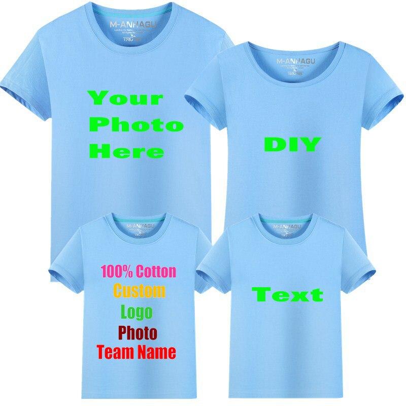 Семья логотип Photo текст, напечатанный DIY Хлопок Для женщин Для мужчин футболка детская парень-Малыш мама папа девочки, милые леди мальчиков ф...