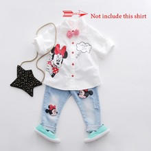 baby boy girl holes jeans children denim pants 2016 jeans for girls cartoon print casual wear kids clothes