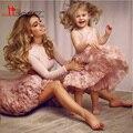 Linda Princesa Rosa vestido de Baile Littler Flor Grils Vestidos de Mãe e Filha Vestido Handmade Flores Meninas Vestido de Concurso de beleza