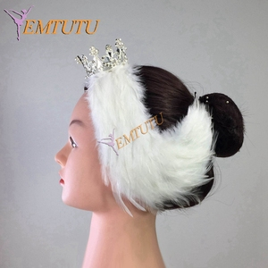 Image 5 - Free Shipping White Black Swan Lake Ballet Headpiece,Feather Headwear Headdress with Crown,Hand Made Nutcracker Hair Headband