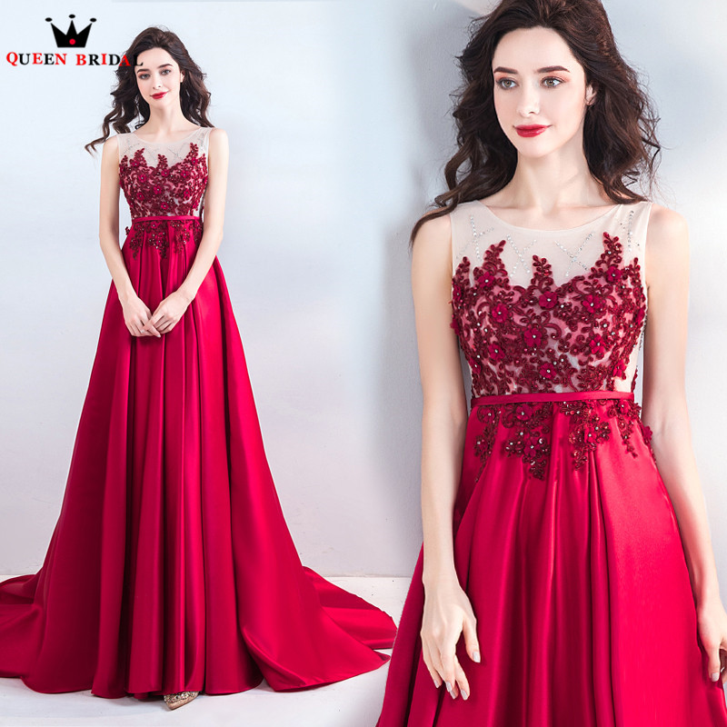 A-line Satin Lace Crystal Lace Beading Wine Red Luxury Formal   Evening     Dresses   2018 New Arrival   Evening   Gown Robe De Soiree JU22