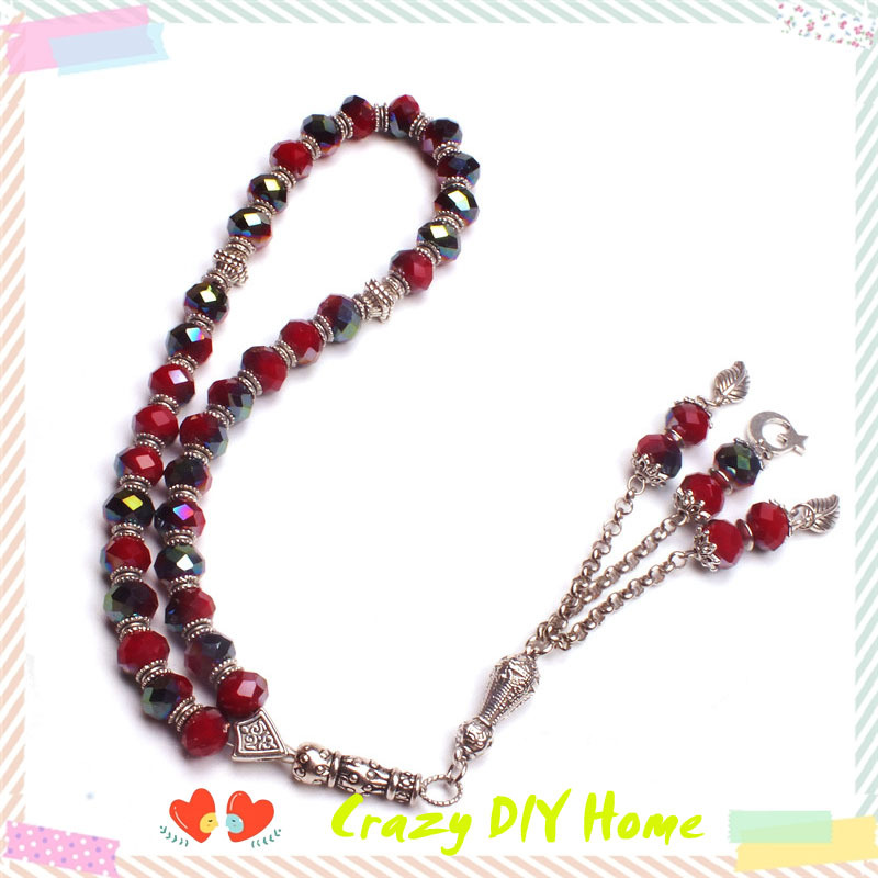 Tasbih Store crystal beads siam with plated color islamic prayer beads