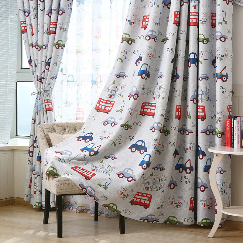 Cartoon Trees Curtains For Kids Boys Bedroom Blinds Linen: Car Cartoon Baby Boy Blackout Curtains For Children Room