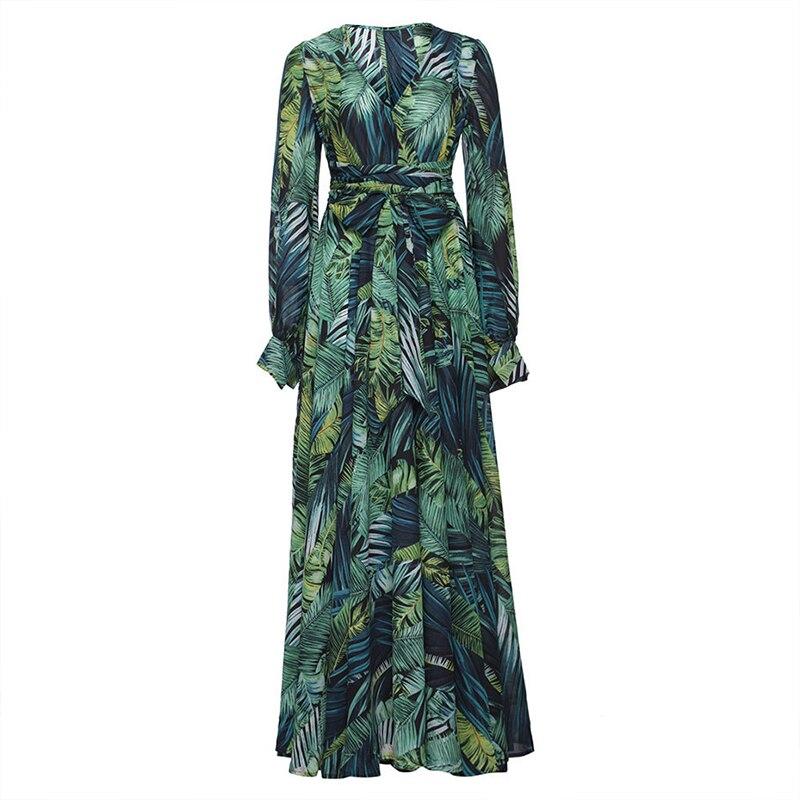 Summer Beach Maxi Dress Women Deep V Neck Print Party Dress Lace-Up Sexy Ladies Bohemian Dresses Elegant Long Dress 5