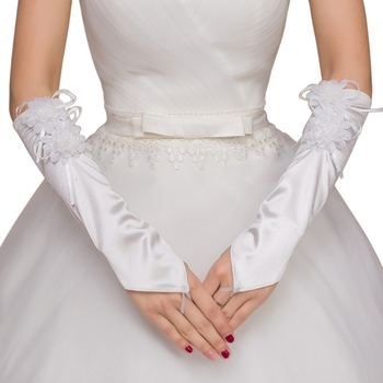 Wedding Fingerless Bridal Short Gloves Lace Floral Heart Rhinestone Bowknot Soft Bridal Gloves