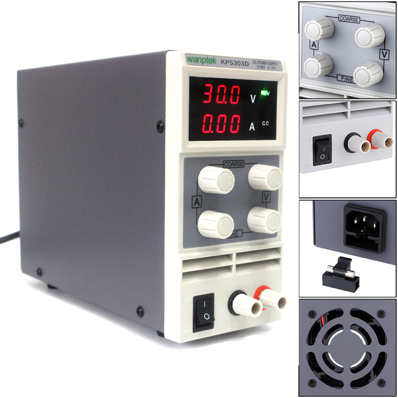 Wanptek KPS303D 30V 3A 0.1V/0.01A Adjustable High precision double LED display mini switch DC Power Supply protection function 30v 5a dc regulated power high precision adjustable supply switch power supply maintenance protection function kps305df