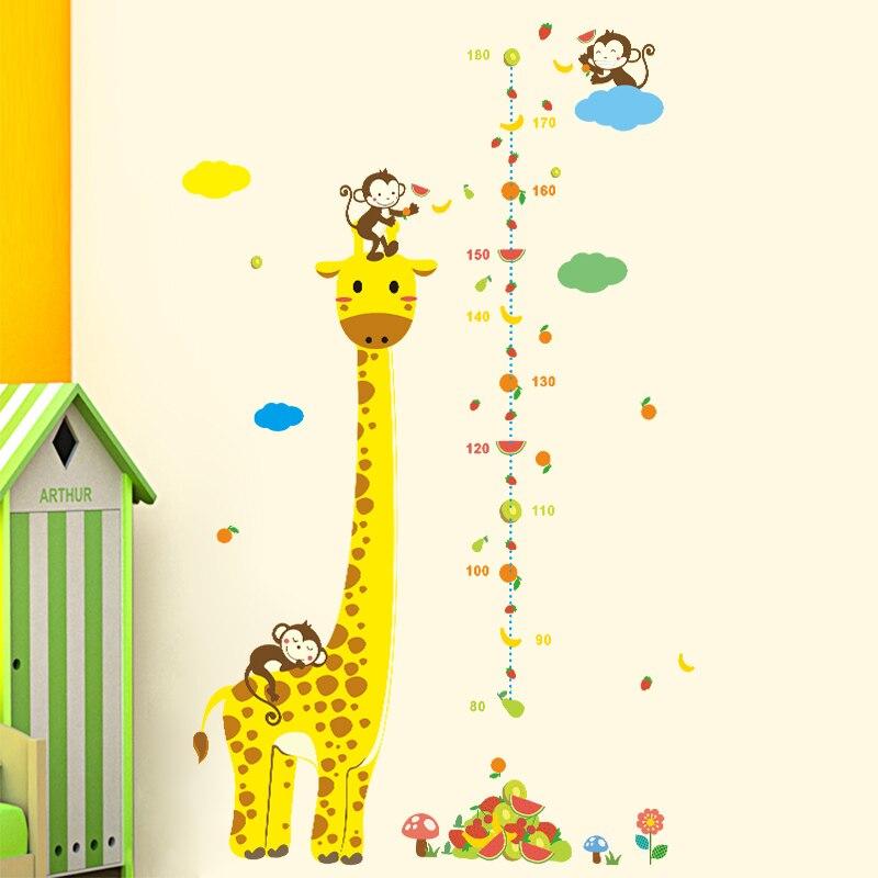 Removable Monkey Giraffe Height Chart Measurement Kids Baby Nursery ...