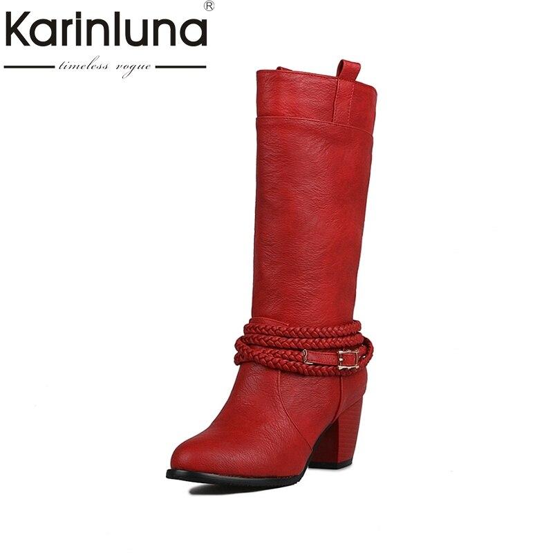 KarinLuna Grande Taille 32-47 Femmes Cool Moto Bottes De Mode Chunky Talons Glissent Sur Chaussures Automne Hiver Demi- genou Bottes