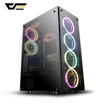Darkflash fantasma gaming caso preto atx mid-tower desktop computador gaming caso chassi com 6 pces 120mm led dr12 rgb ventiladores de refrigeração(China)
