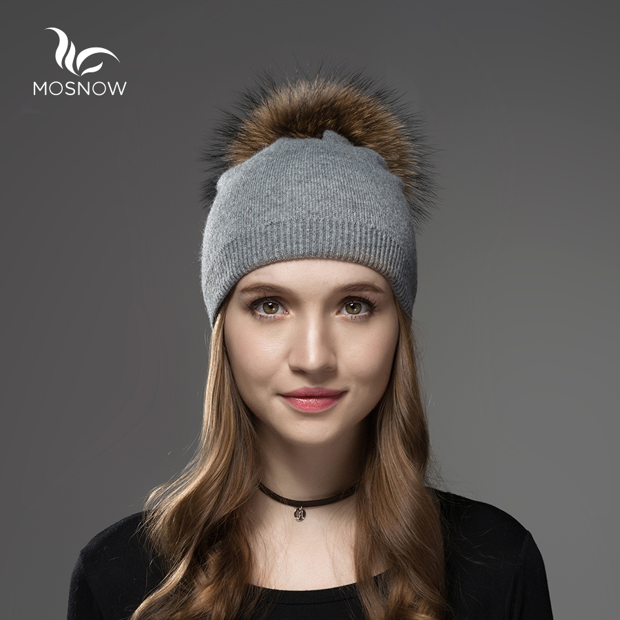 Mosnow Hat Female  Women Raccoon Wool Fox Fur Pom Poms Warm Knitted Casual High Quality Vogue Winter Hats Caps Skullies Beanies 2017 winter fur hat female rex rabbit fur hat with fox fur pom poms fur knitted beanies fashion high quality caps for women hats