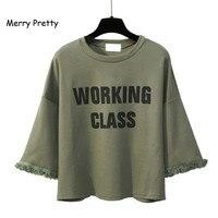 New Korean Fashion Harajuku Women Tshirt Cotton Tops Tassel Letter Printed Batwing Sleeve Female T Shirts