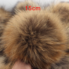 High Quality 5PCS 15cm Big Women's Raccoon Fur Pompom 100% Real Fur Round Pompon Balls for Beanies Pom Pom Balls Supplies