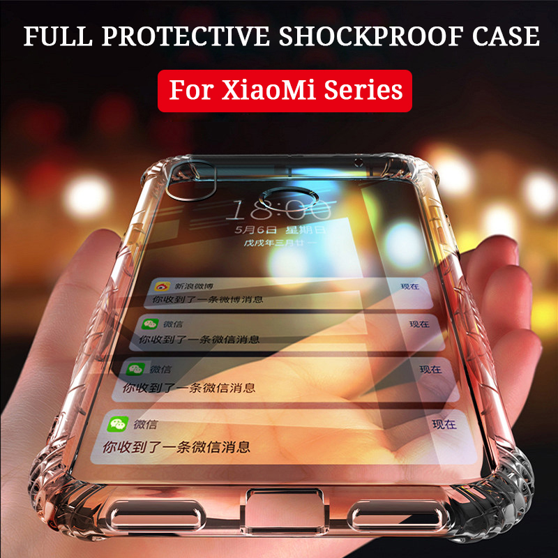 360 Degree Airbag DropProof Soft TPU Case For Xiaomi Mi 9 9T 8 SE lite Redmi Note K20 Pro 7 Transparent ShockProof