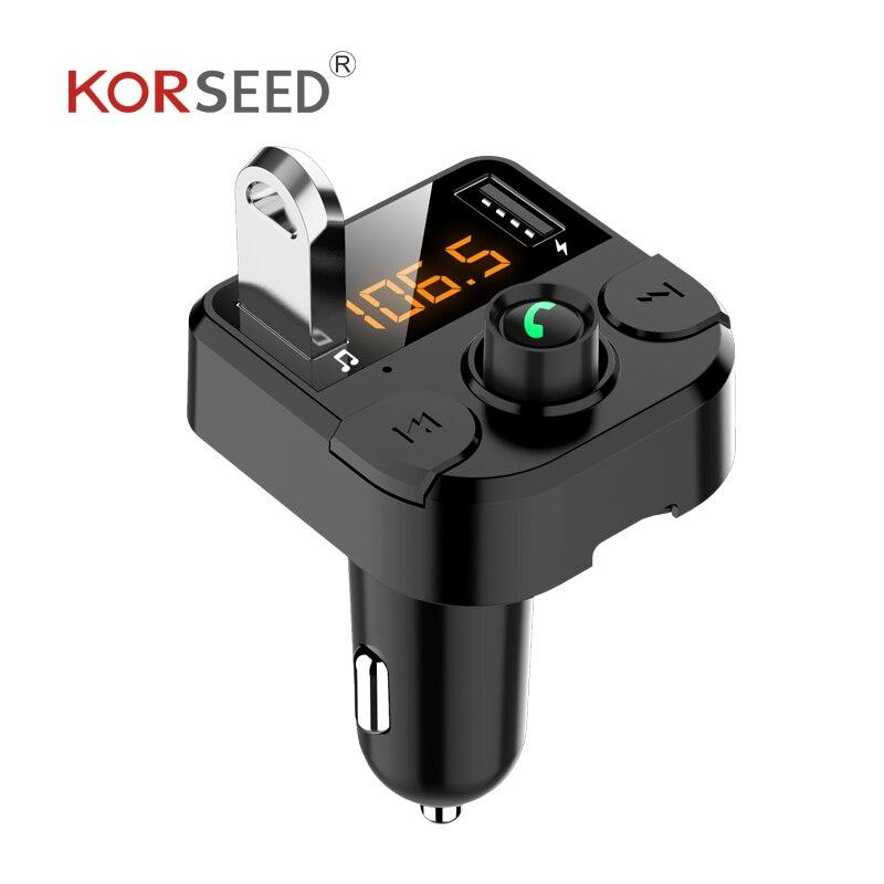 KORSEED двойное USB Автомобильное зарядное устройство с fm-передатчиком Bluetooth hands-free FM модулятор автомобильное зарядное устройство для телефона д... title=