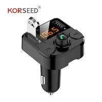 KORSEED двойное USB Автомобильное зарядное устройство с fm-передатчиком Bluetooth hands-free FM модулятор автомобильное зарядное устройство для телефона д...