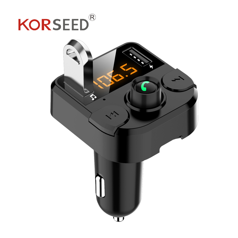 Korseed Ganda USB Charger Mobil FM Transmitter Bluetooth Hands-Free FM Modulator Mobil Charger untuk iPhone title=