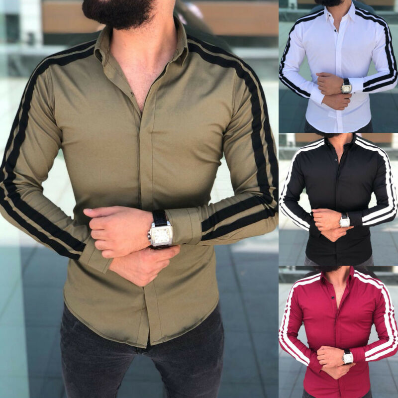 Fashion Long Sleeve Mens Shirts Button Up Business Work Smart Formal Plain Dress Top Casual Slim Fit Men Male Clothing