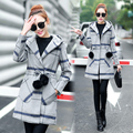 Женщин С Капюшоном Плед Пальто Европейская Мода Леди Длинное Пальто Наряд Новый Женский Clothing Сетки Пальто Длинный С Капюшоном Шерстяная Ткань Пальто