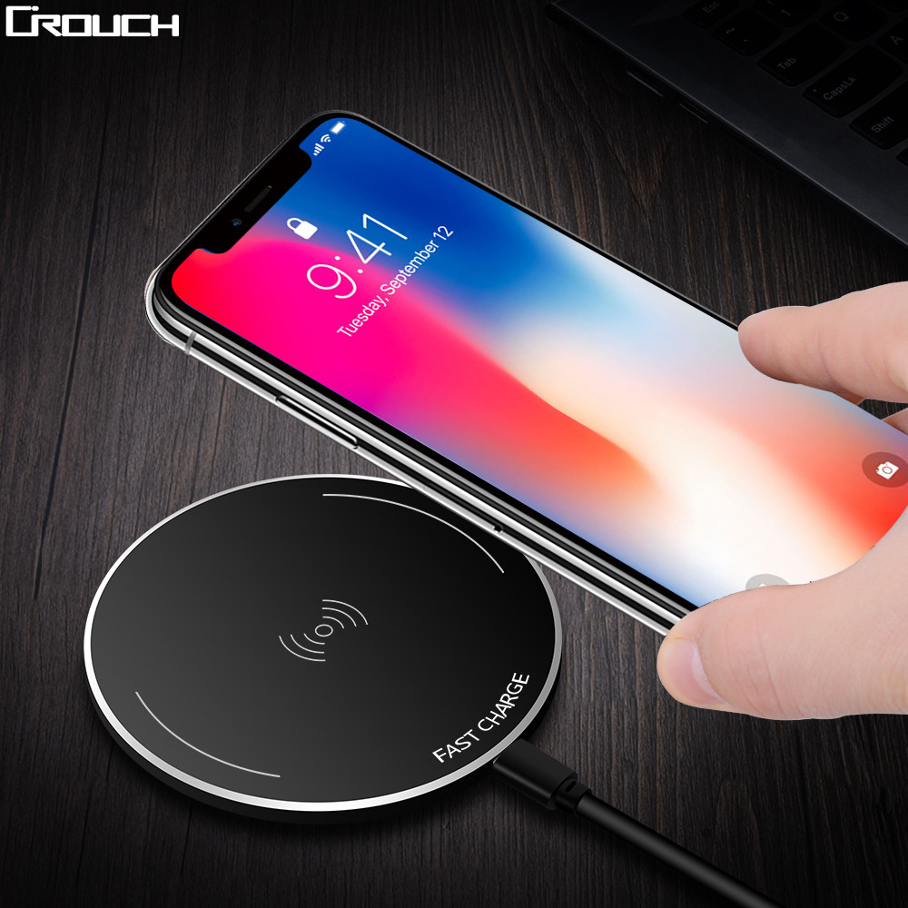 Crouch Wireless Charger for iPhone 8 X 8 Plus 10W Qi Fast Wireless Charging Pad Wireless