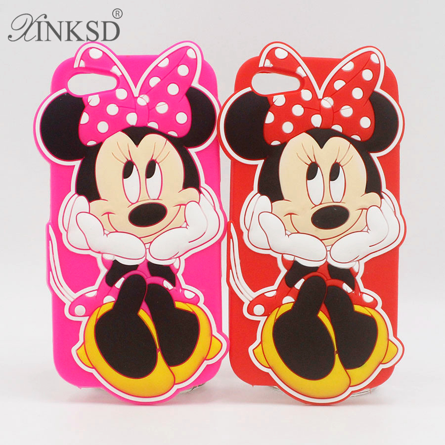 Cute 3D Pink Red Minnie Mouse Phone Case Soft Silicone Rubber Case for Iphone 6 6s 6plus 4 4s 5 5s 5se 7 plus 7plus Back Cover
