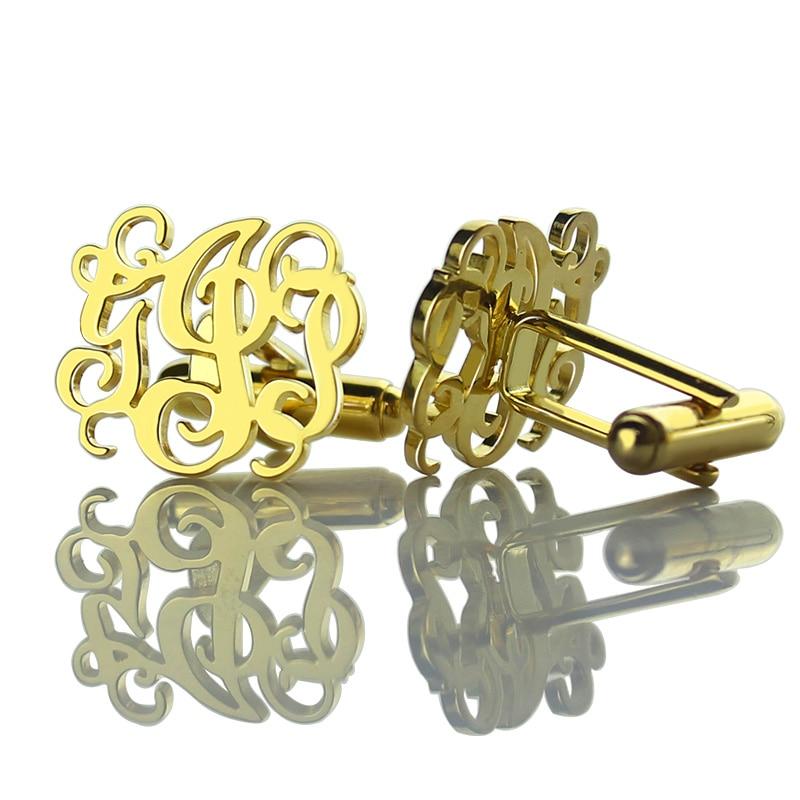 Gros boutons de manchette découpés monogrammés couleur or boutons de manchette de mariage initiales personnalisées hommes boutons de manchette nom hommes bijoux