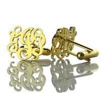 Оптовая вырезать запонки с монограммой золото Цвет свадебные запонки персонализированные инициалы Для мужчин запонки имя Для мужчин ювели...