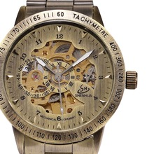 Retro Bronze Men's Skeleton Wrist Watch Automatic Self-wind Male Clock Mechanical Relogio Masculino Steampunk Horloges Mannen