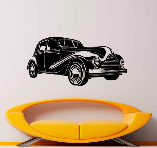 US $5.98 25% OFF Retro Car Wall Decal Classic Vintage Car Sticker Vinyl  Wall Stickers For Living Room Bedroom Decor Mural Wall Tattoo A745-in Wall  ...