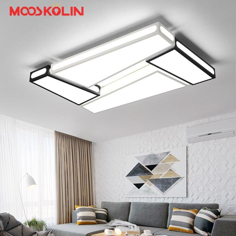 Modern led luzes de teto lustre para sala de estar quarto de Jantar Sala de Estudo Branco e Preto AC85-265V Lustres Luminárias