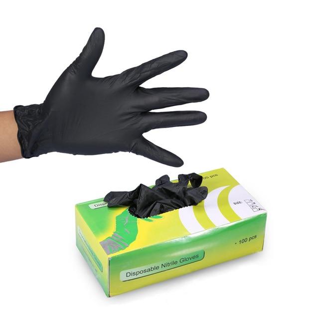100 шт черные латексные тату-перчатки одноразовые водонепроницаемые нетоксичные татуировки Латексные перчатки защита пальцев принадлежности для тату-машинки